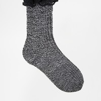 ASOS Mix Knit Ankle Socks With Lace Trim