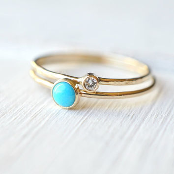 Turquoise Ring, Moissanite Ring, Ring Set, Beach Wedding Ring, Stacking Rings, Bridal Shower Gift, Engagement Ring, Dainty Gold Ring, Gift