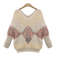 Women Fashion Knitting Sweater Sexy V-Neck Loose Style Patchwork Colors  M-XXXL = 1667442244