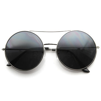 Designer Oversize Metal Bridge Round Womens Sunglasses 8596
