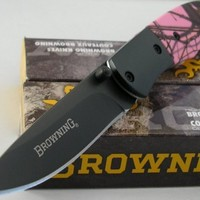 Browning For Her SMALL Pocket Folder Mossy Camo Pink Handle Knife