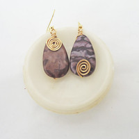 Jasper Wire Wrapped Earrings, Purple Earrings, Dangle Earrings, Gemstone Earrings, UK Seller