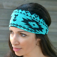 Turquoise Aztec Tribal Boho Hippie Head wrap