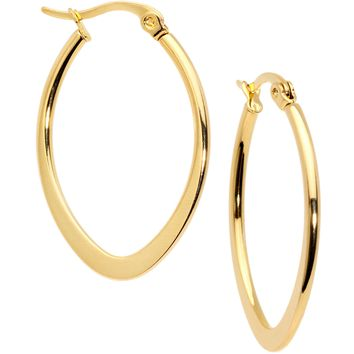 30mm Gold Tone PVD Stainless Steel Oval Hoop Earrings