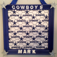 Dallas Cowboys man cave playroom game room bedroom decor photo memorabilia organizer holder bulletin board memo sports fan gift for him