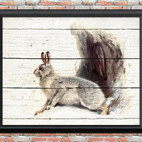 Antique Snow Rabbit Digital Art Print Snow Bunny Animal Pet Home Decor Rustic Farm Winter Landscape Instant Download