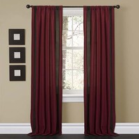 Lush Decor C12642P13-000 Charming Red and Brown 84 x 40-Inch Window Curtain Panel Pair