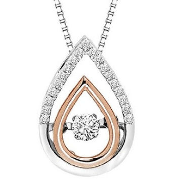 14K Two-Tone Rose and White Gold Pear Shaped Rhythm of Love Diamond Necklace