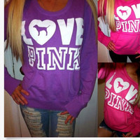 """Pink"" Victoria's Secret Letter Pattern Print Top Sweater Pullover Sweatshirt"