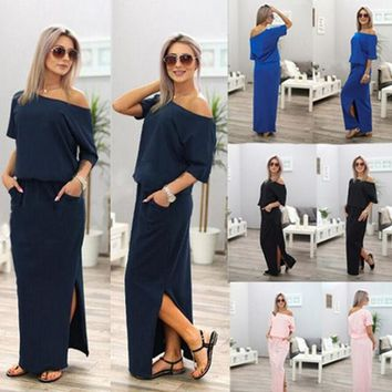Women Side Split Loose Dress Summer Sexy Long Maxi Dress Short Sleeve Evening Party Dresses with Pocket Vestidos