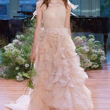 Monique Lhuillier Ballad Surplice Tulle & Organza High/Low Gown (In Stores Only) | Nordstrom