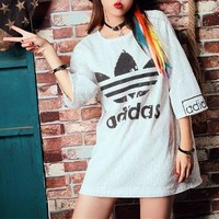 """""""Adidas"""" Women Loose Casual Fashion Clover Letter Sequin Medium Long Section Middle Sleeve T-shirt Mini Dress"""