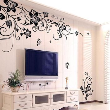 2017 Fashion Beautiful DIY Removable Vinyl Big Wall Sticker Flowers Vine Mural Decal Art Stikers For Living Room Wall Decoration