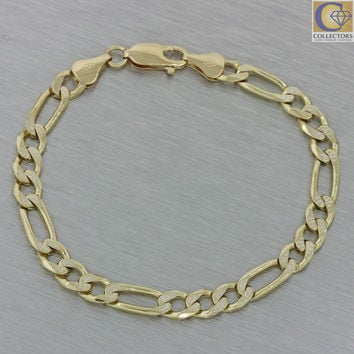 Modern Men's Italy 14k Solid Yellow Gold 6mm Figaro Link Chain Bracelet