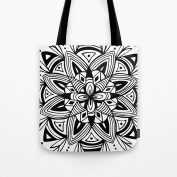 Mandala - Black Tote Bag by Heather Dutton