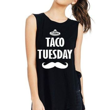 Women's Side Slit Muscle Tank Top with Taco Tuesday Print