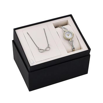 Bulova Ladies Crystal Dress Watch Gift Set - Two-Tone - Matching Necklace