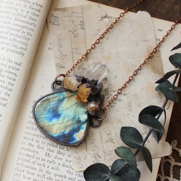 Labradorite, Citrine & Quartz Electroformed Copper Necklace
