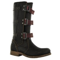 Fly London Swope Black Leather Womens Boots