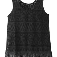 Chevron Crochet Lace Fringed Sleeveless Tank