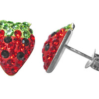 Trendbox Jewelry Crystal Strawberry Earrings