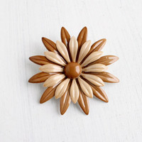 Vintage Brown & Tan Enamel Floral Brooch - Retro Two Tone 1960s Mod Costume Jewelry Pin / Large Flower