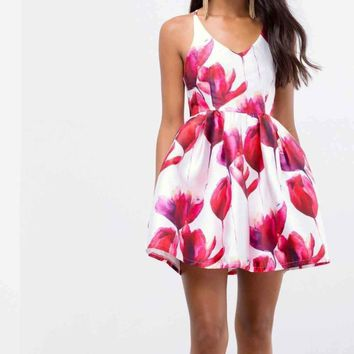 Bright Bonnet Fit and Flare Floral Dress - !