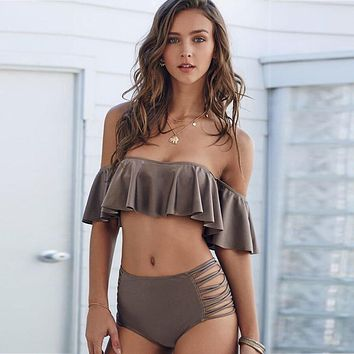 Sexy Women Bikini Set Push Up Bandeau top Swimsuit Cut Out High Waist Bathing Suits Retro Padding Swimwear Swimsuit