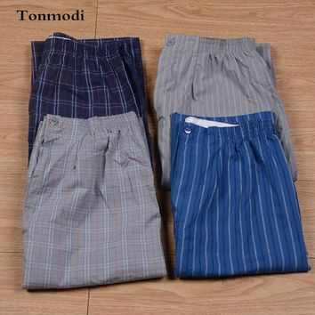 summer Men's trousers thin plaid stripe pants lounge casual pants Sleep Bottoms