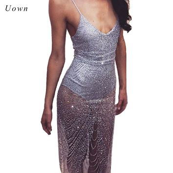 Sexy Sheer Glitter Silver Gold Sequin Party Dresses Women V Neck Side Split Spaghetti Strap See Through Mesh Bodycon Dress Club