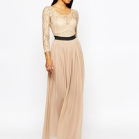 Rare London Lace Maxi Dress With Contrast