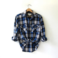 20% OFF SALE...Vintage Plaid Flannel / Grunge Shirt / Button up shirt / Preppy flannel
