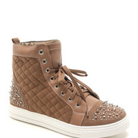 Black Poppy Studded Quilted High Top Sneakers at PacSun.com
