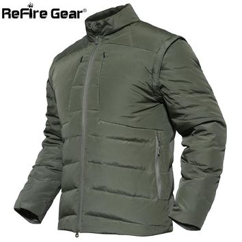 ReFire Gear Winter Warm Tactical Padded Jacket Men Waterproof Military Style Army Jacket Sleeves Detachable Outerwear Parka Coat