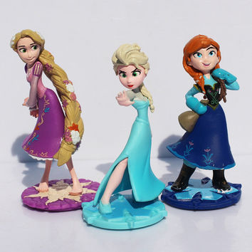 Free shipping 10cm Princess Elsa Anna Tangled Rapunzel PVC Figure Dolls Brithday Gift For Children Free Shipping