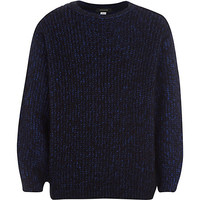 River Island Boys blue grunge fluffy knit sweater