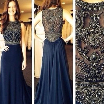 Onlyudress new arrivals dark navy chiffon floor length o-neck sleeveless rhinestones sheath / column prom party dress / evening gowns / prom dress S307 = 5738953345