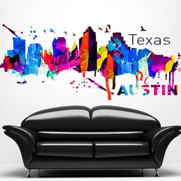 Austin Texas Skyline, Art Print Watercolor, Art decal Sticker Gift for Home. Office, and Nursery