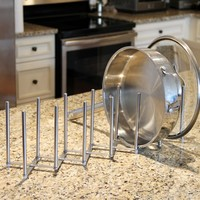 Kitchen Pot Lid Plate Holder Rack Stainless Steel , 6 Sectional , Adjustable Length Accordion Style , Can Be Extended to 24""