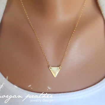 SALE - Small Brass Triangle Necklace - Dainty Little Triangle Shape Charm Suspended on Gold Filled Chain - morganprather