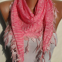 Pink and Leopard Shawl / Scarf with Leaves Edge by SwedishShop