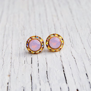Opal, Aurora Borealis Earrings - Sugar Sparklers Small - Swarovski Crystal Pink Opal, Aurora Borealis Rhinestone Stud Earrings
