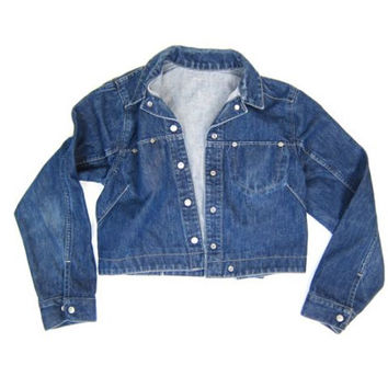 Vintage Levis Jean Jacket Dark Blue Denim Coat Cropped Denim Jacket Womens Hipster Grunge Jacket Snap Up Levis Jacket Womens Small