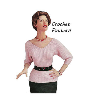 Woman's 3/4 Length Blouse Crochet Pattern || Vintage 1950's || Reproduction PDF Instant Download Rose S-386