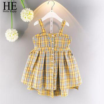 Girl plaid dress summer casual kids dresses girls cotton button backless sundress princess clothes
