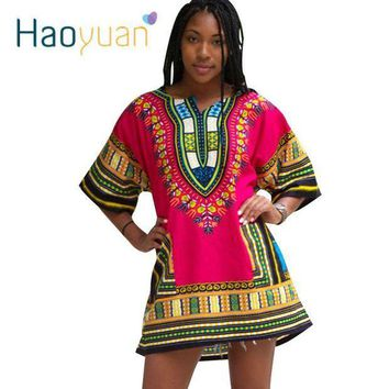 ICIKION HAOYUAN Dashiki Dress 2018 African Woman Traditional Print Short Sleeve Bazin Riche T-shirt Clothing African Dresses For Women