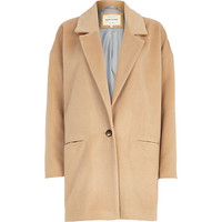 River Island Womens Dark beige drawn wool-blend oversized coat