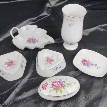 HOLLOHAZA-HUNGARY-PORCELAIN Vanity Bathroom Set Vase Trinket Ashtray Soap Dish