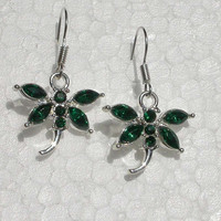 Green Sparkle, dragonfly  earrings