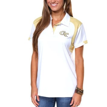 Russell Georgia Tech Yellow Jackets Ladies 2013 Sideline Polo - White/Gold - http://www.shareasale.com/m-pr.cfm?merchantID=7124&userID=1042934&productID=520953861 / GA Tech Yellow Jackets